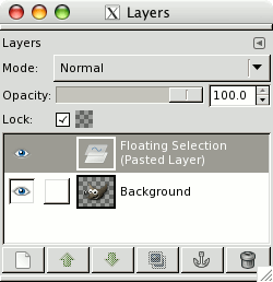 floating layer in GIMP